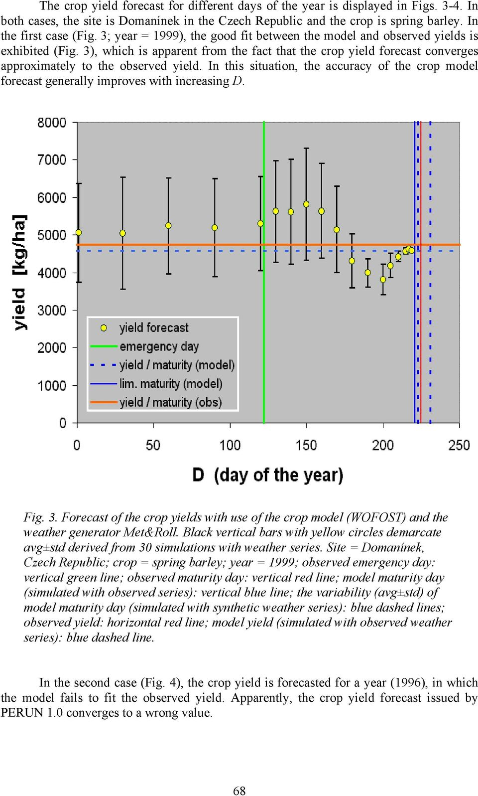 In this situation, the accuracy of the crop model forecast generally improves with increasing D. Fig. 3.