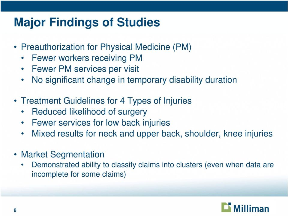 likelihood of surgery Fewer services for low back injuries Mixed results for neck and upper back, shoulder, knee