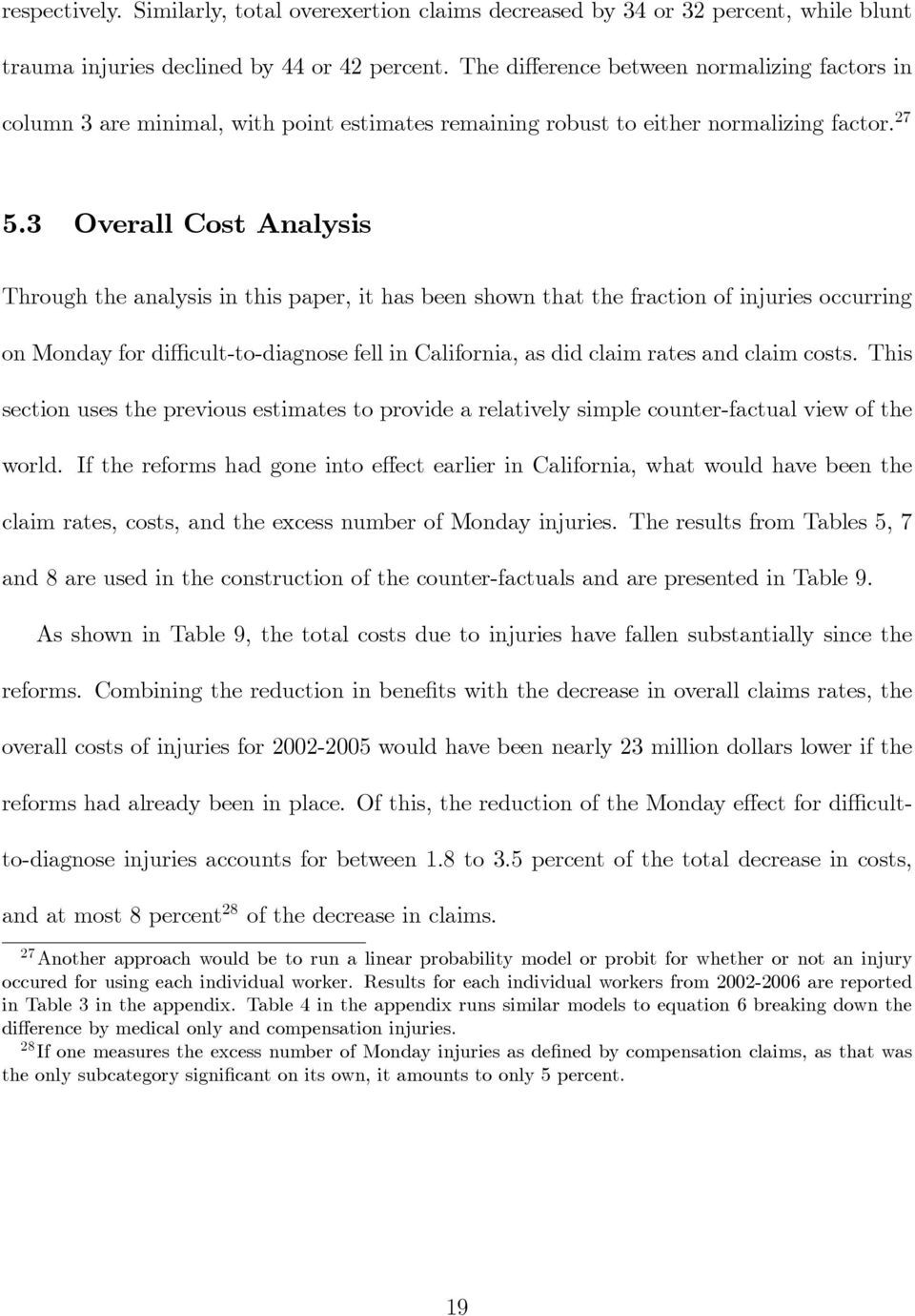 3 Overall Cost Analysis Through the analysis in this paper, it has been shown that the fraction of injuries occurring on Monday for diffi cult-to-diagnose fell in California, as did claim rates and