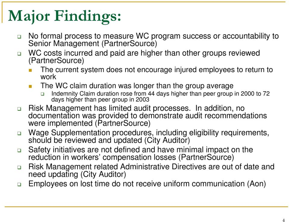 2000 to 72 days higher than peer group in 2003 Risk Management has limited audit processes.
