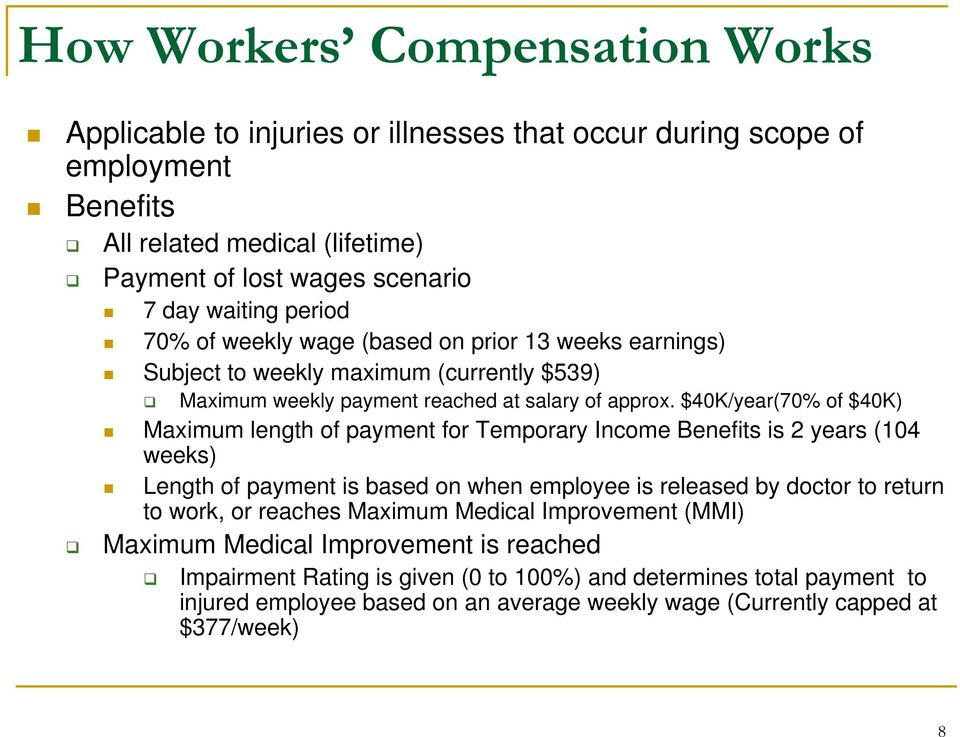 $40K/year(70% of $40K) Maximum length of payment for Temporary Income Benefits is 2 years (104 weeks) Length of payment is based on when employee is released by doctor to return to work, or