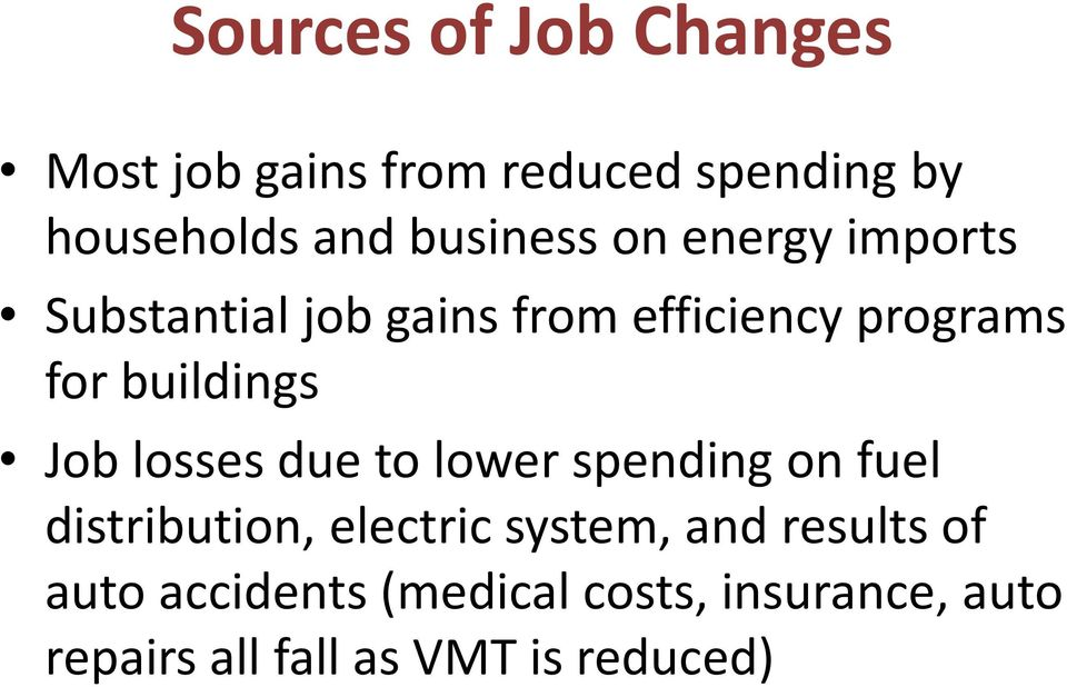 buildings Job losses due to lower spending on fuel distribution, electric system,