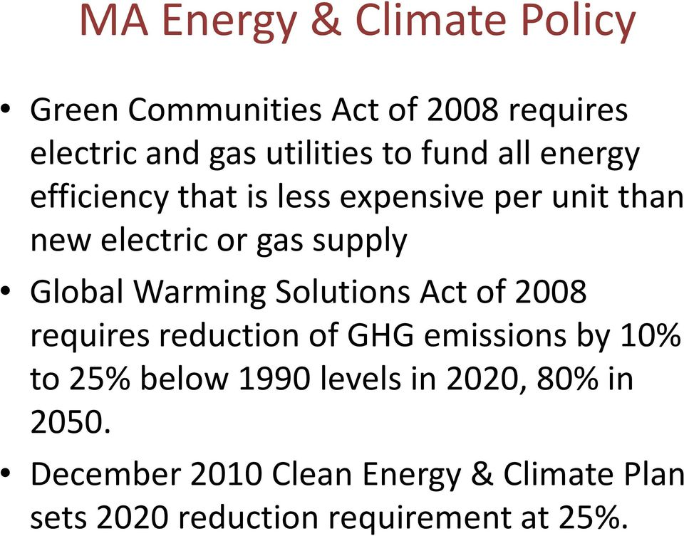 Warming Solutions Act of 2008 requires reduction of GHG emissions by 10% to 25% below 1990 levels