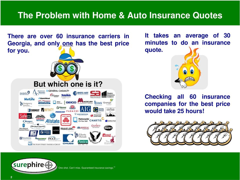 It takes an average of 30 minutes to do an insurance quote.