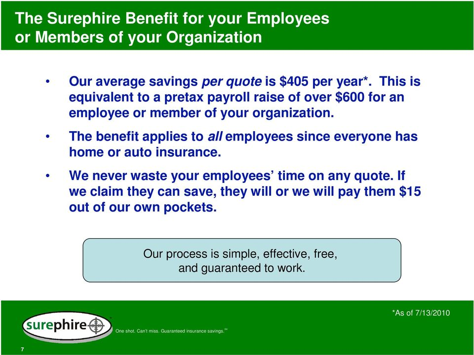 The benefit applies to all employees since everyone has home or auto insurance. We never waste your employees time on any quote.