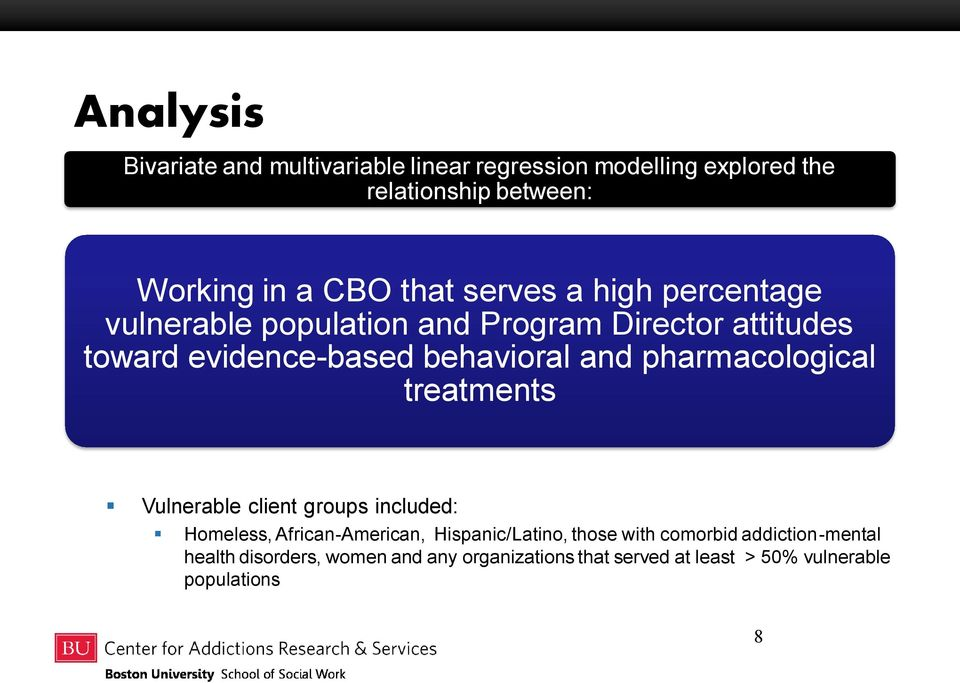 pharmacological treatments Vulnerable client groups included: Homeless, African-American, Hispanic/Latino, those with
