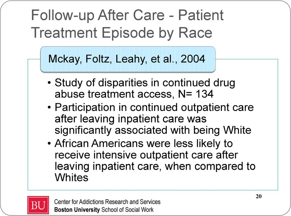 continued outpatient care after leaving inpatient care was significantly associated with being White