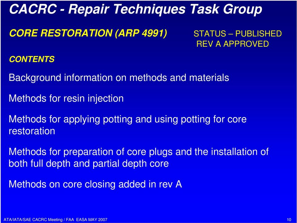 potting and using potting for core restoration Methods for preparation of core plugs and