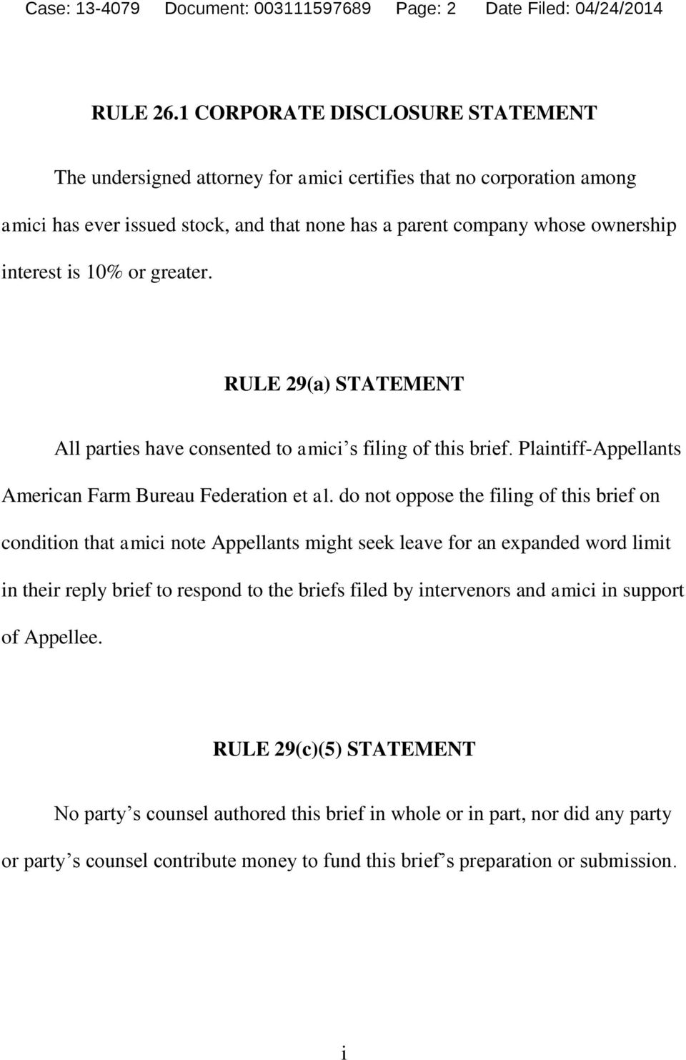 or greater. RULE 29(a) STATEMENT All parties have consented to amici s filing of this brief. Plaintiff-Appellants American Farm Bureau Federation et al.