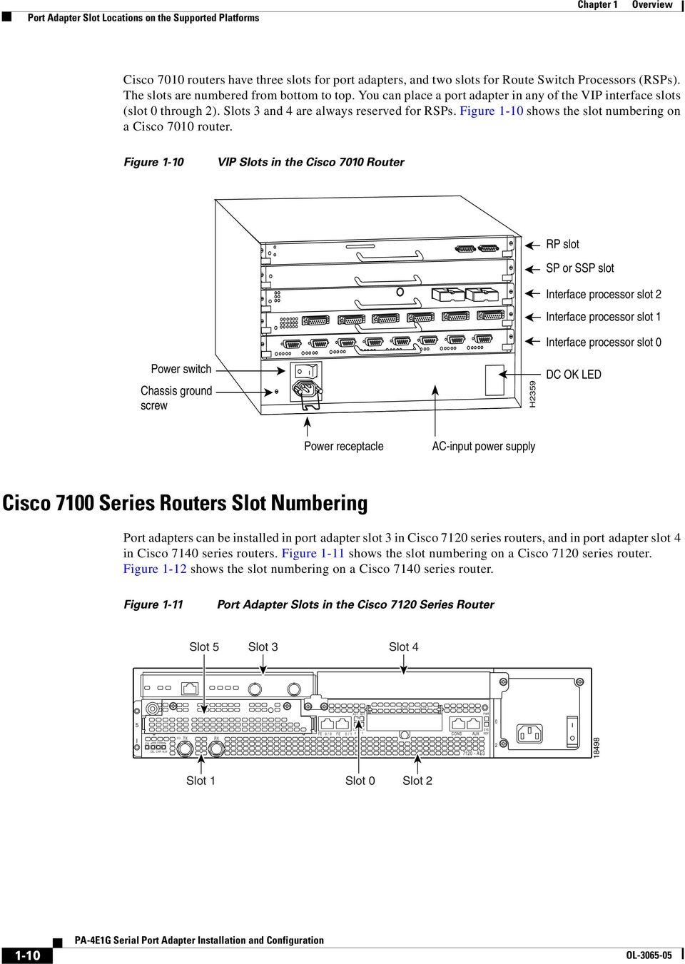 Figure - shows the slot numbering on a Cisco 7 router.