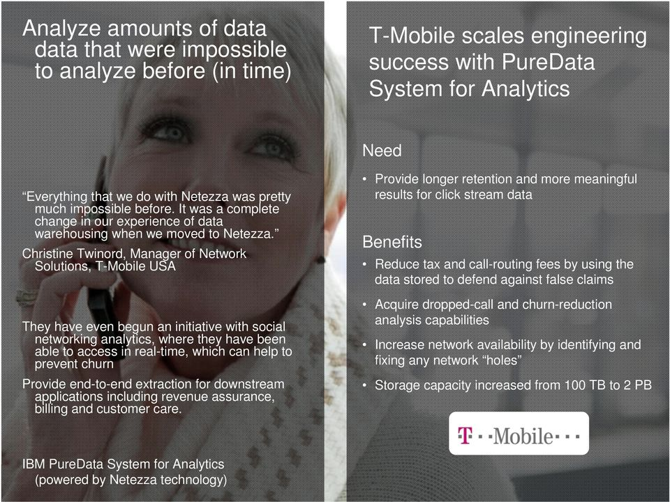Christine Twinord, Manager of Network Solutions, T-Mobile USA They have even begun an initiative with social networking analytics, where they have been able to access in real-time, which can help to