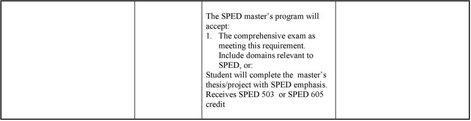 Include domains relevant to SPED, or: Student will complete