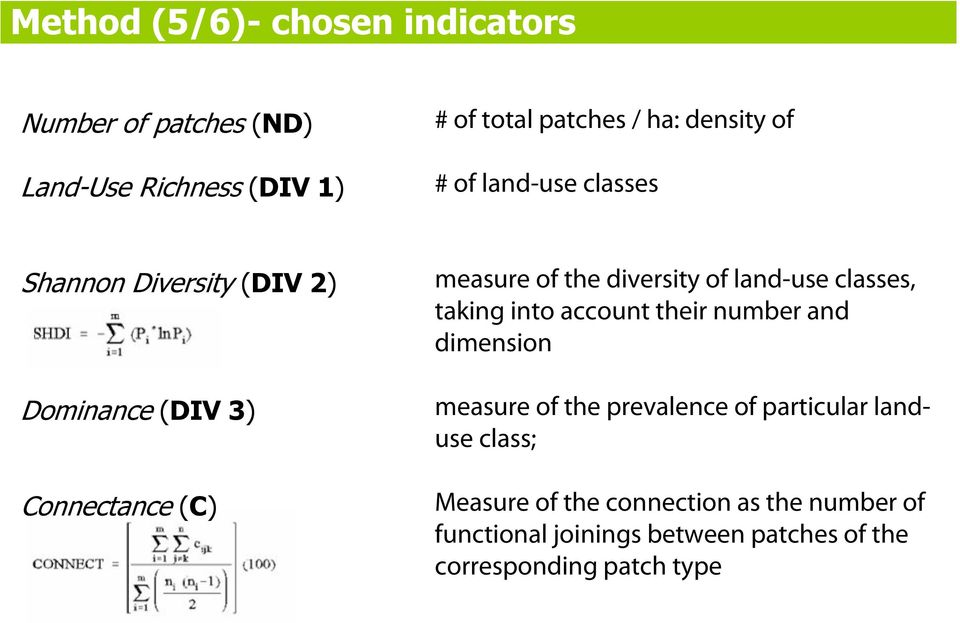 land-use classes, taking into account their number and dimension measure of the prevalence of particular landuse
