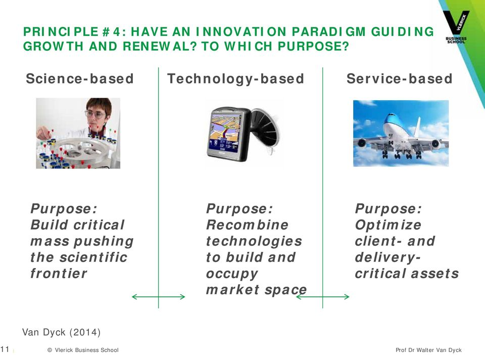 Science-based Technology-based Service-based Purpose: Build critical mass pushing