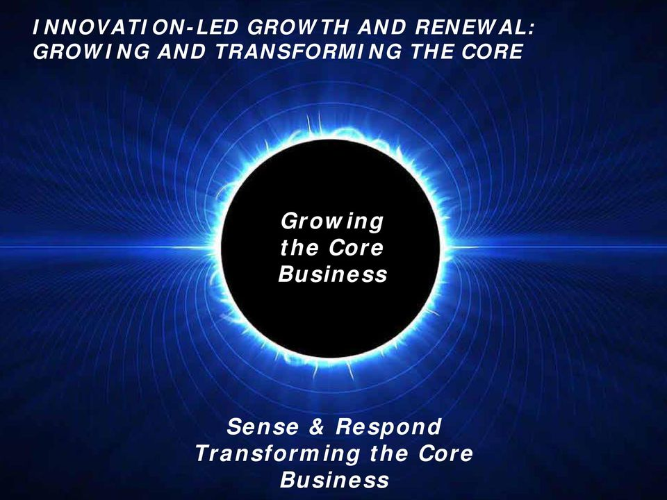 Growing the Core Business Sense &