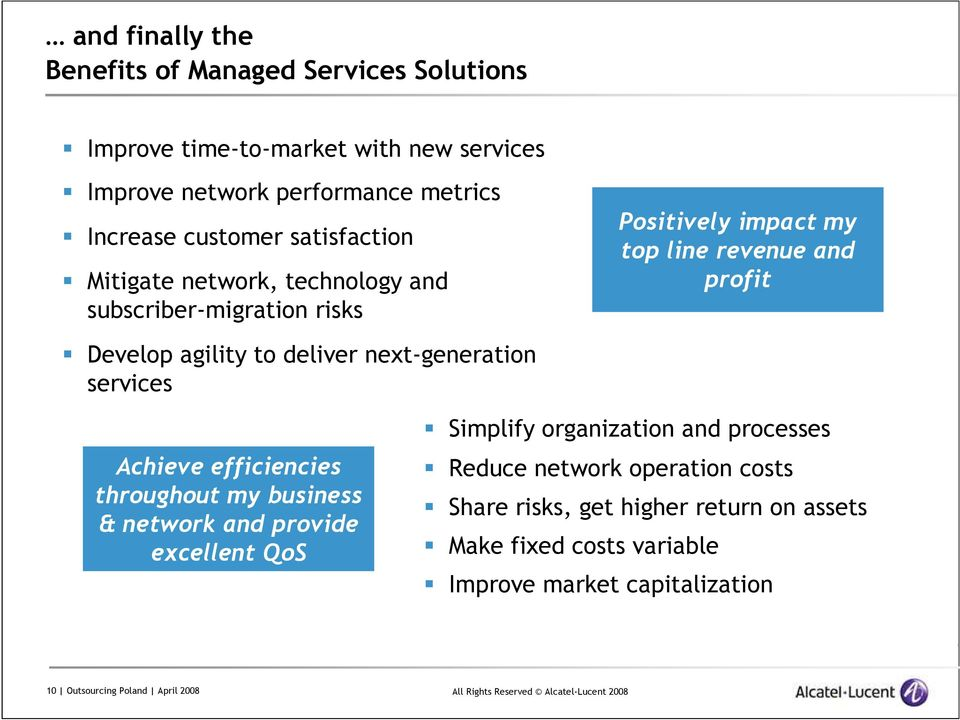 to deliver next-generation services Achieve efficiencies throughout my business & network and provide excellent QoS Simplify organization and