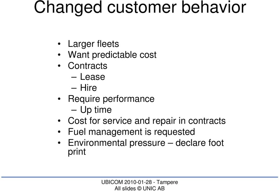 performance Up time Cost for service and repair in