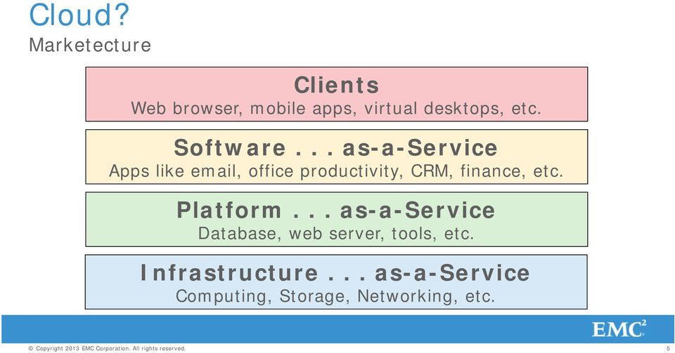 Platform... as-a-service Database, web server, tools, etc. Infrastructure.
