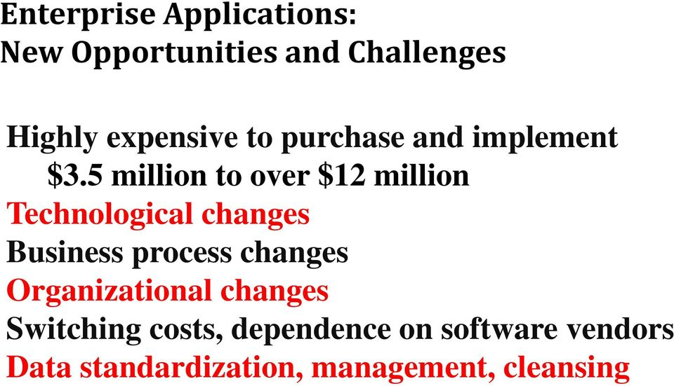 5 million to over $12 million Technological changes Business process