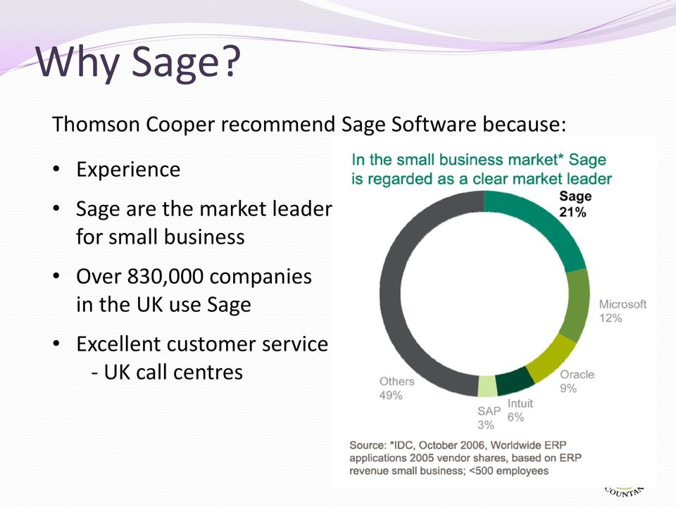 Experience Sage are the market leader for small