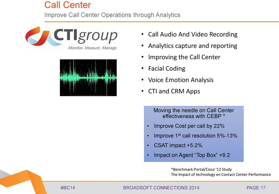 effectiveness with CEBP * Improve Cost per call by 22% Improve 1 st call resolution 5%-13% CSAT impact +5.