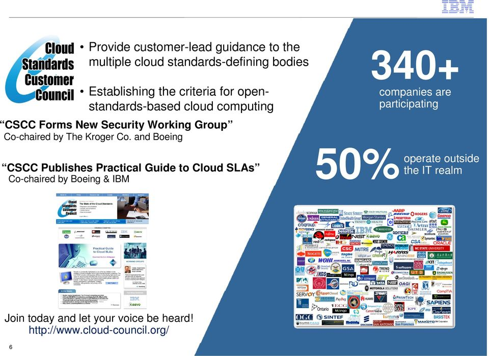 and Boeing CSCC Publishes Practical Guide to Cloud SLAs Co-chaired by Boeing & IBM 50% 340+ companies are