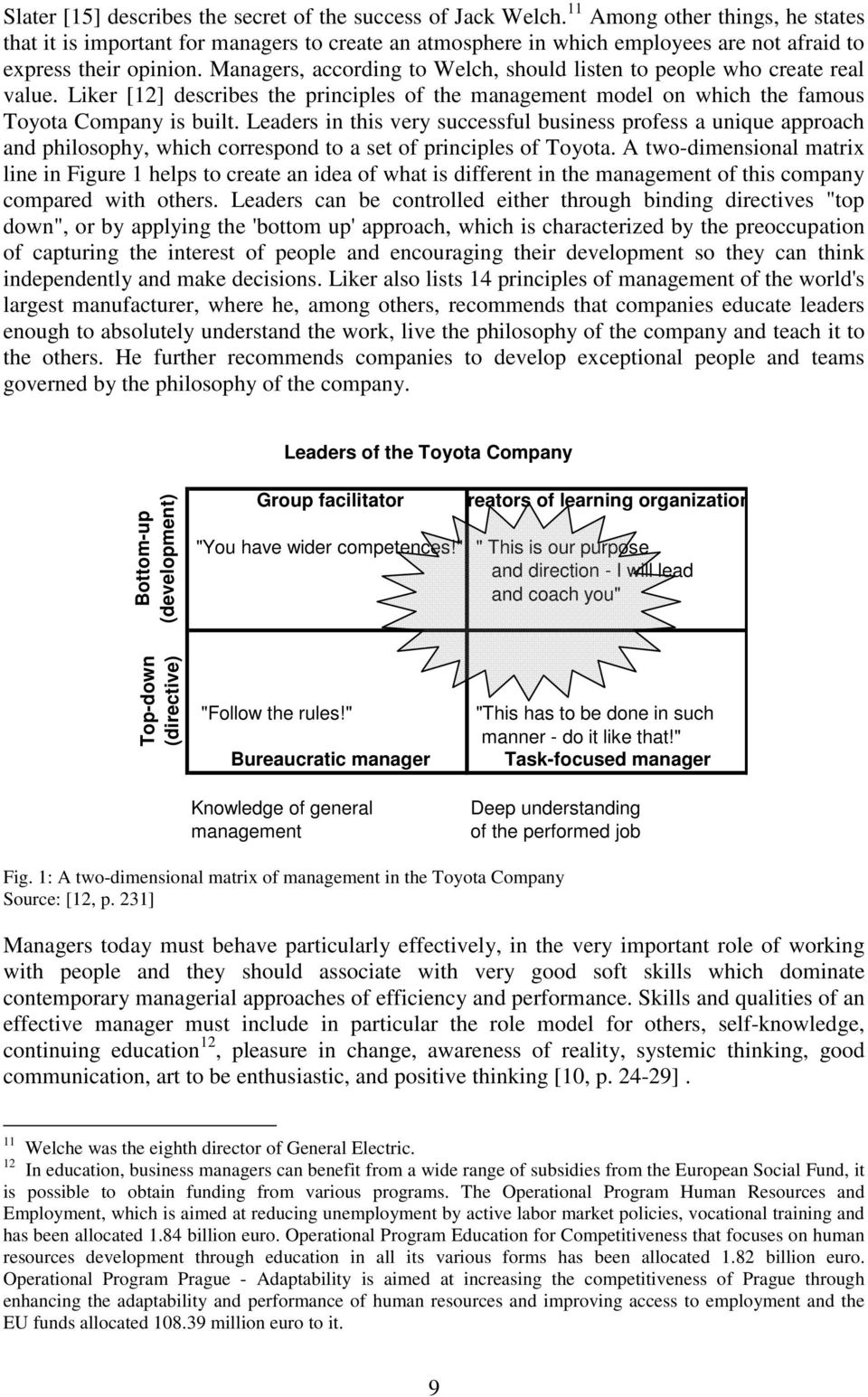 Managers, according to Welch, should listen to people who create real value. Liker [12] describes the principles of the management model on which the famous Toyota Company is built.