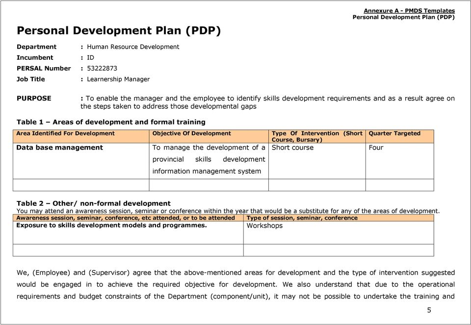 development and formal training Area Identified For Development Objective Of Development Type Of Intervention (Short Course, Bursary) Data base management To manage the development of a Short course