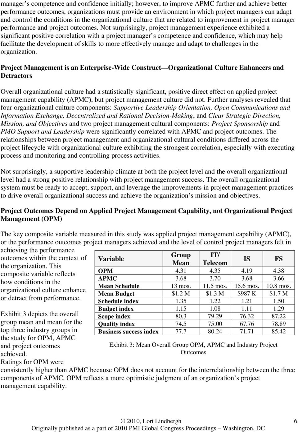 Not surprisingly, project management experience exhibited a significant positive correlation with a project manager s competence and confidence, which may help facilitate the development of skills to