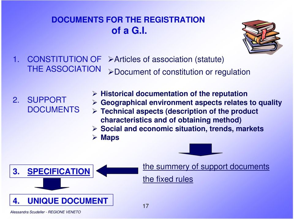 SUPPORT DOCUMENTS Historical documentation of the reputation Geographical environment aspects relates to quality Technical