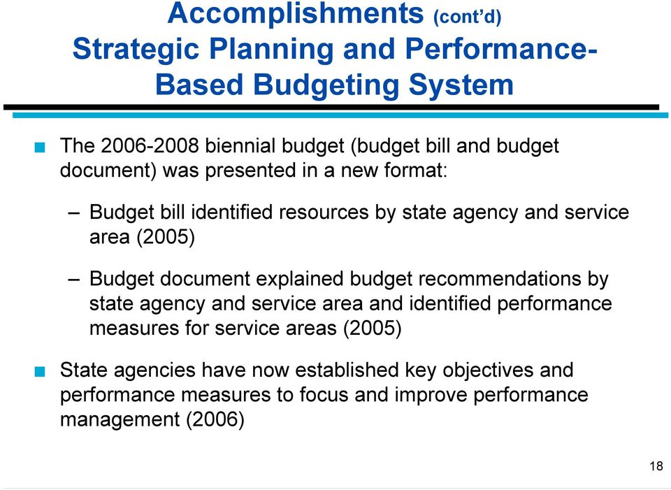 document explained budget recommendations by state agency and service area and identified performance measures for service areas