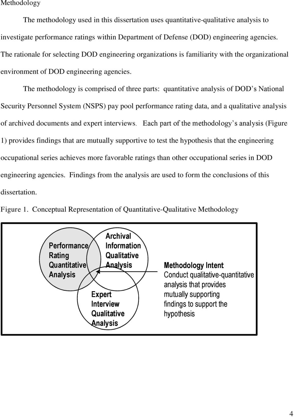 The methodology is comprised of three parts: quantitative analysis of DOD s National Security Personnel System (NSPS) pay pool performance rating data, and a qualitative analysis of archived
