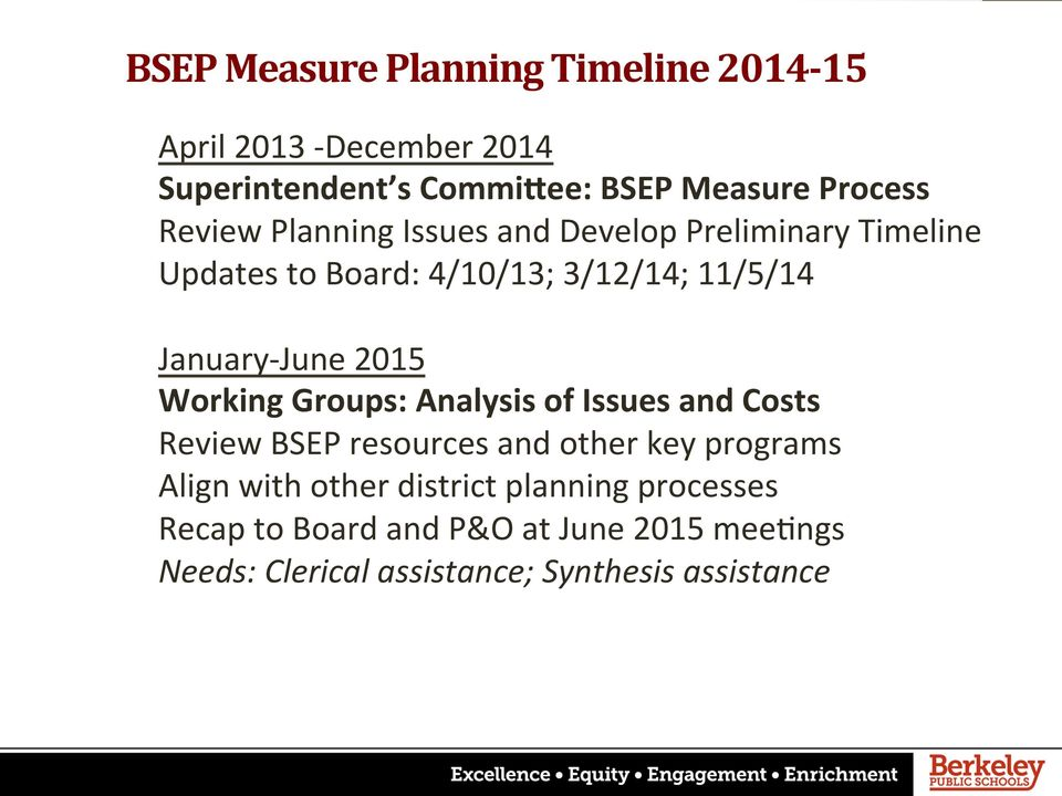2015 Working Groups: Analysis of Issues and Costs Review BSEP resources and other key programs Align with other