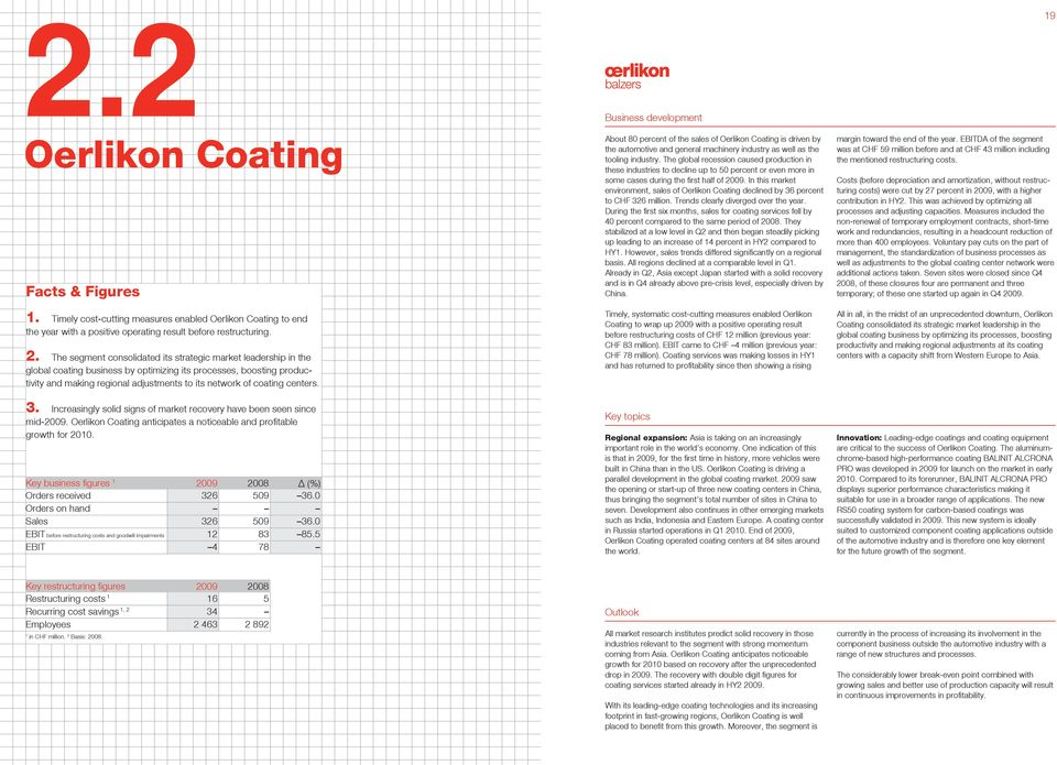 centers. 3. Increasingly solid signs of market recovery have been seen since mid-2009. Oerlikon Coating anticipates a noticeable and profitable growth for 200.