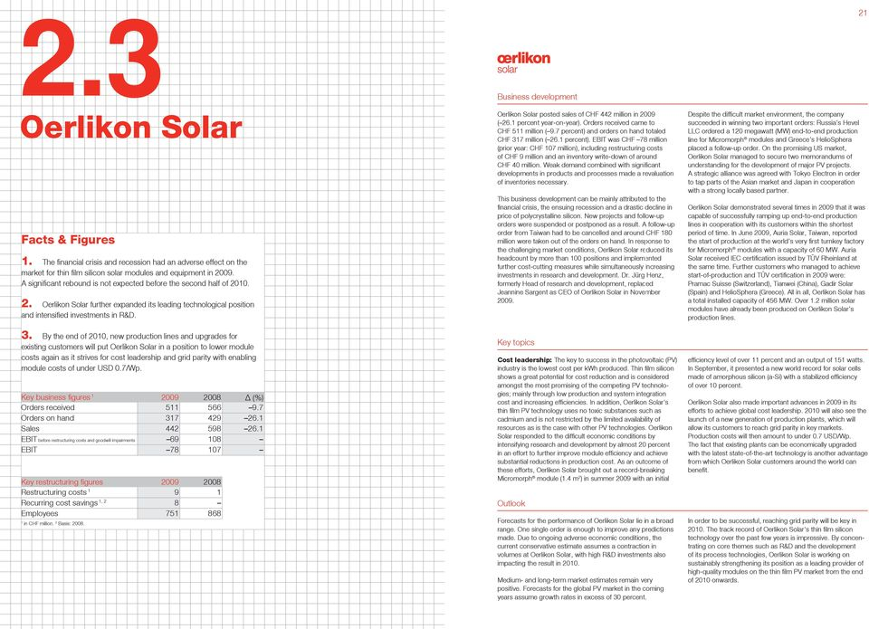 By the end of 200, new production lines and upgrades for existing customers will put Oerlikon Solar in a position to lower module costs again as it strives for cost leadership and grid parity with