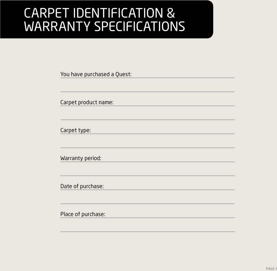 Carpet product name: Carpet type: Warranty
