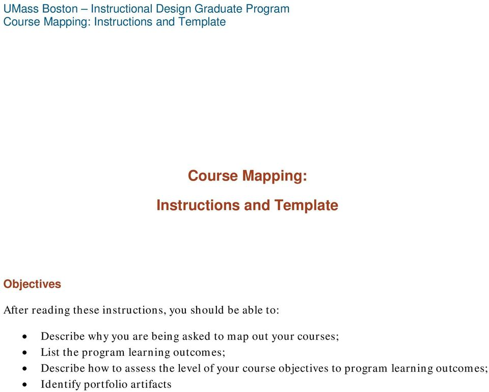 being asked to map out your courses; List the program learning outcomes; Describe how to