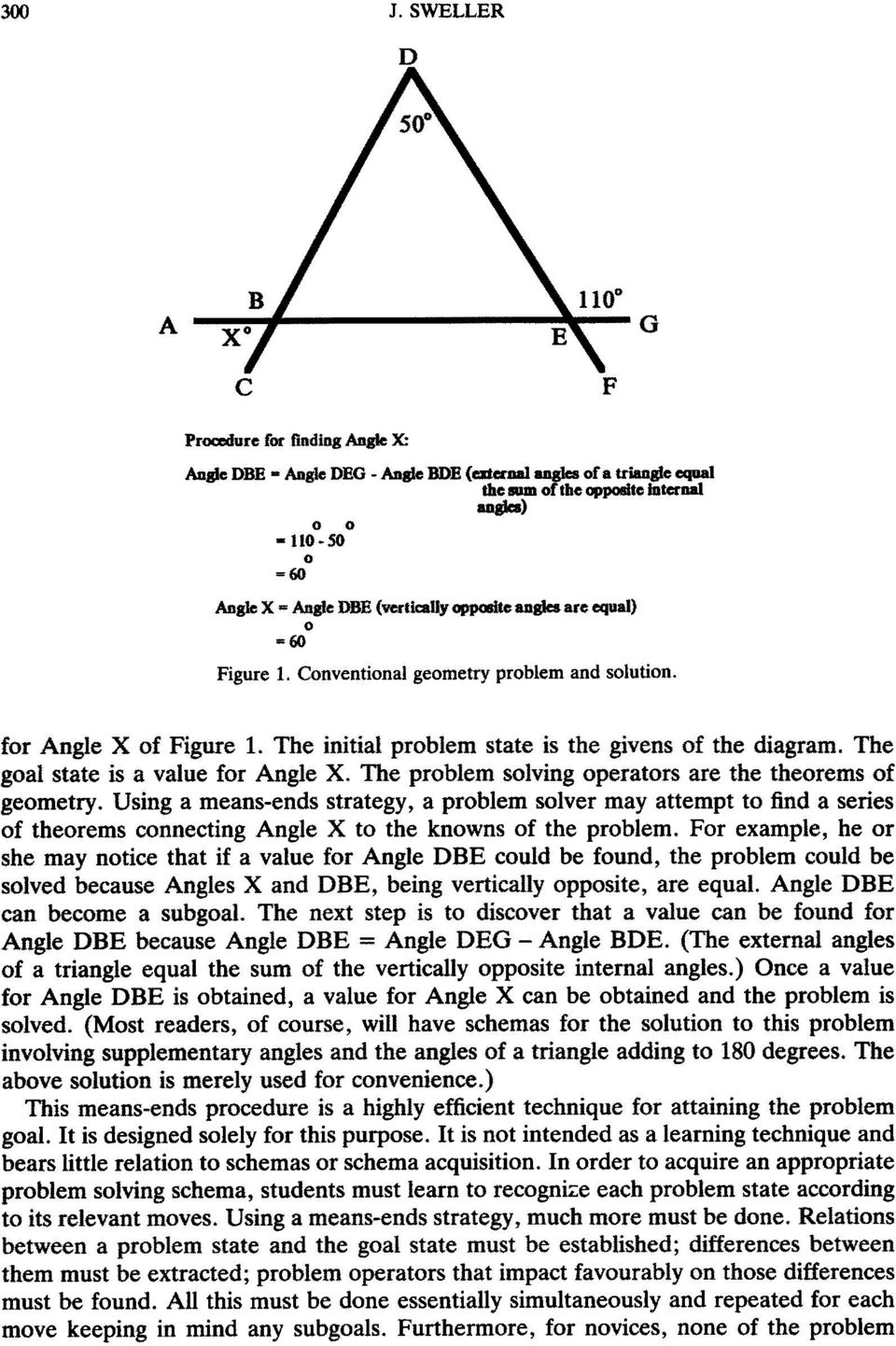 Conventional geometry problem and solution. for Angle X of Figure 1. The initial problem state is the givens of the diagram. The goal state is a value for Angle X.