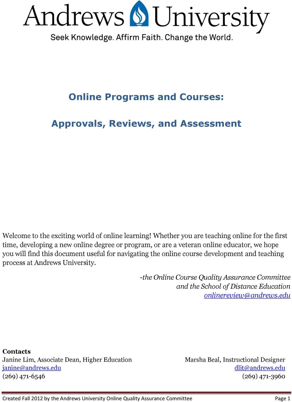 navigating the online course development and teaching process at Andrews University.