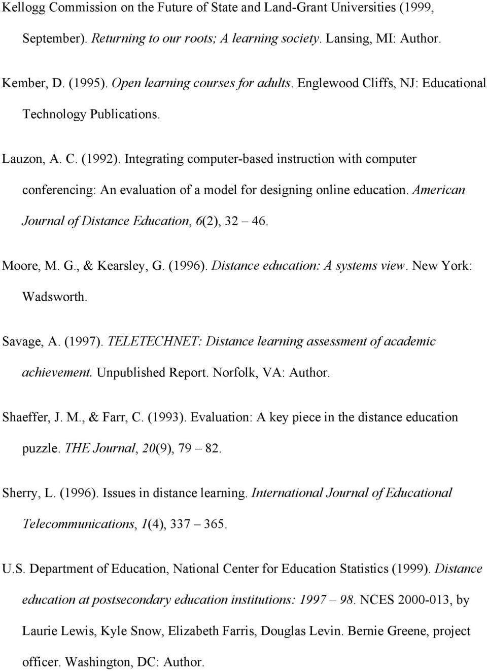 Integrating computer-based instruction with computer conferencing: An evaluation of a model for designing online education. American Journal of Distance Education, 6(2), 32 46. Moore, M. G.