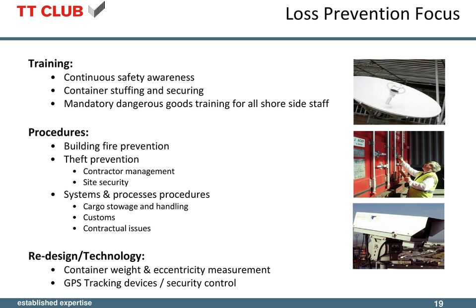 management Site security Systems & processes procedures Cargo stowage and handling Customs Contractual issues