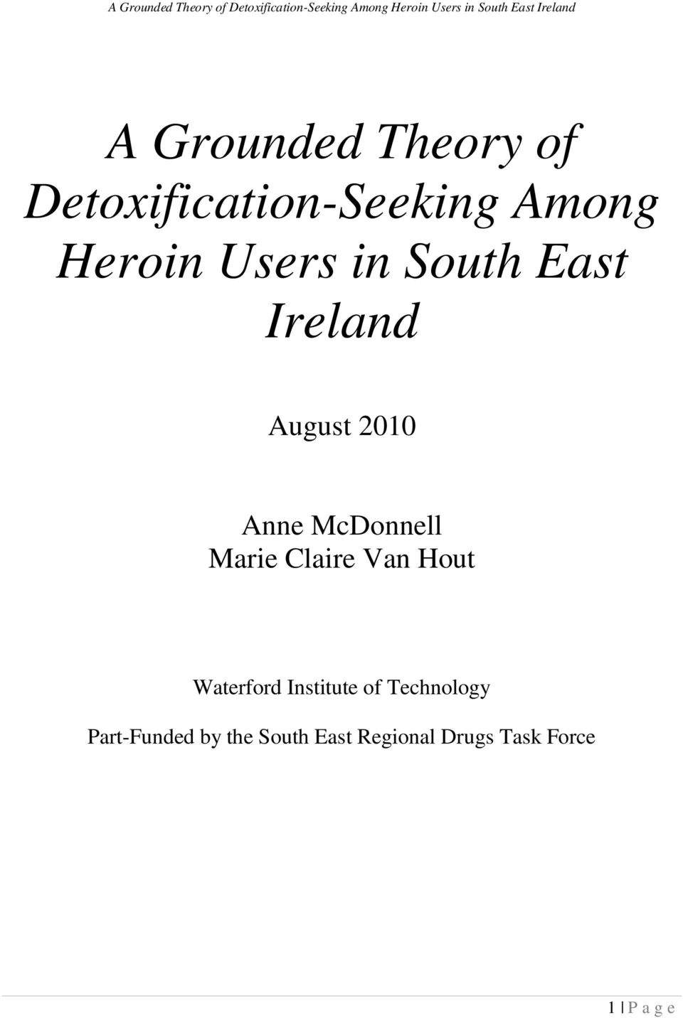 Marie Claire Van Hout Waterford Institute of Technology