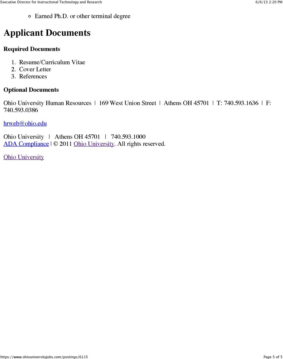 References Optional Documents Ohio University Human Resources 169 West Union Street Athens OH 45701
