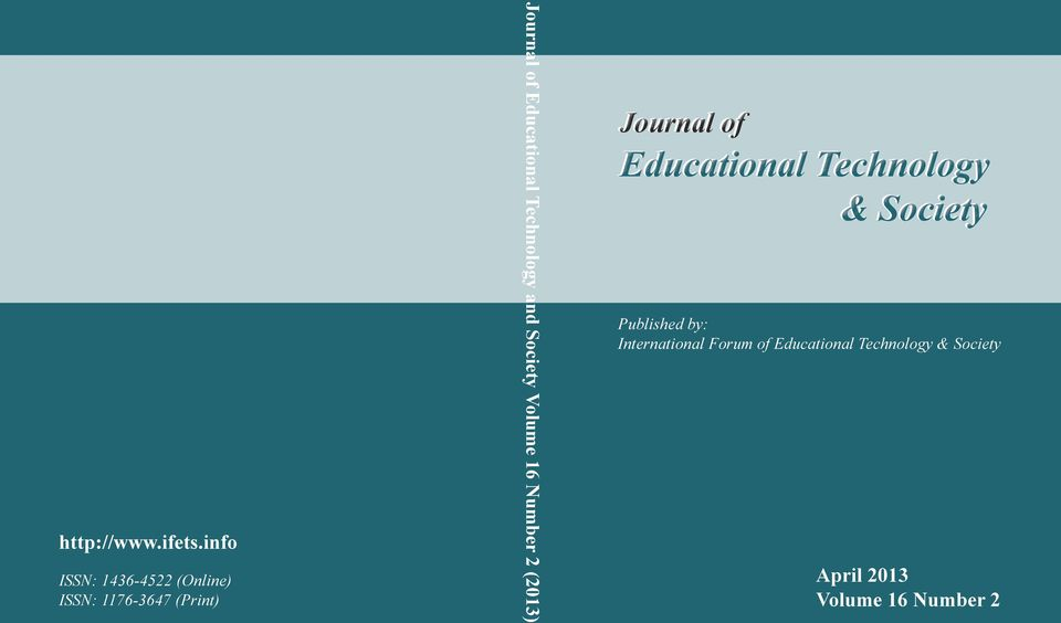 Educational Technology and Society Volume 16 Number 2 (2013) Journal of