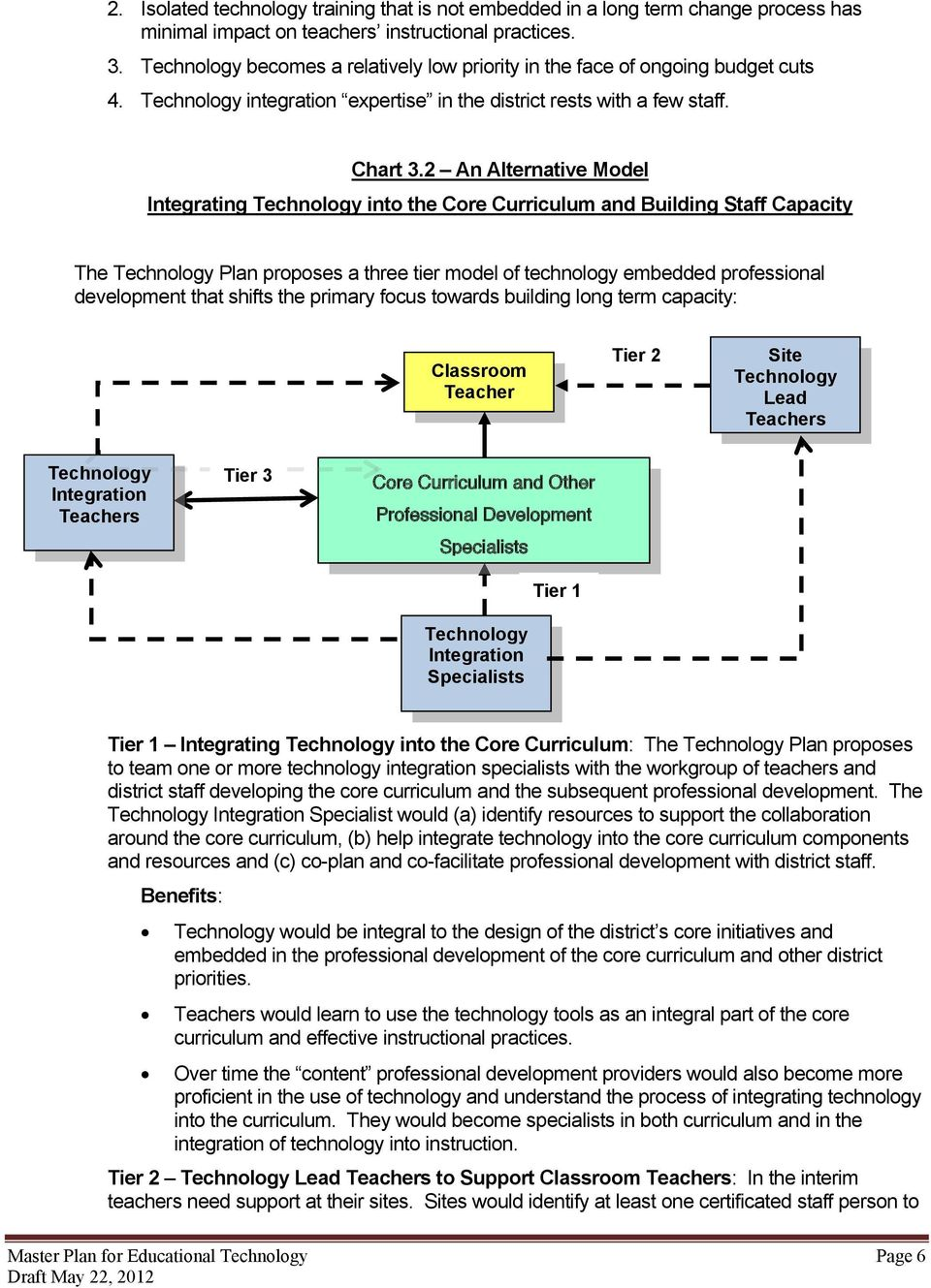 2 An Alternative Model Integrating into the Core Curriculum and Building Staff Capacity The Plan proposes a three tier model of technology embedded professional development that shifts the primary