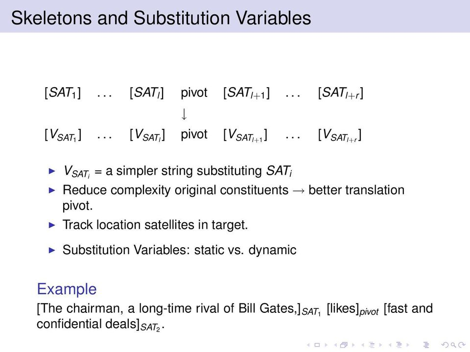 .. [V SATl+r ] V SATi = a simpler string substituting SAT i Reduce complexity original constituents better