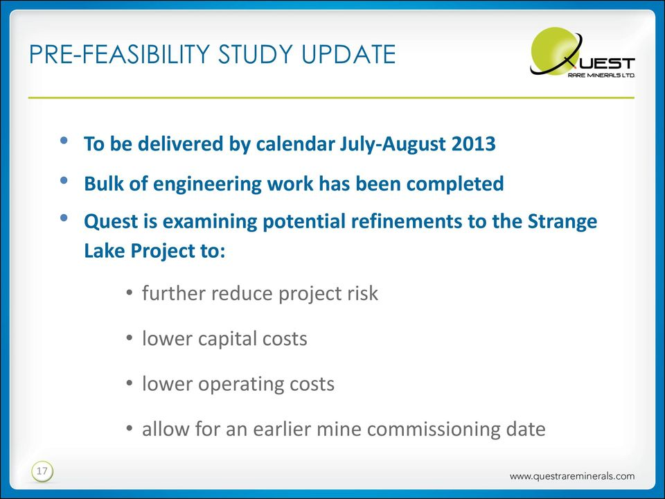 refinements to the Strange Lake Project to: further reduce project risk