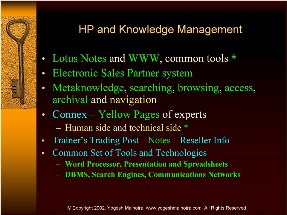 Human side and technical side * Trainer s Trading Post Notes Reseller Info Common Set of Tools and