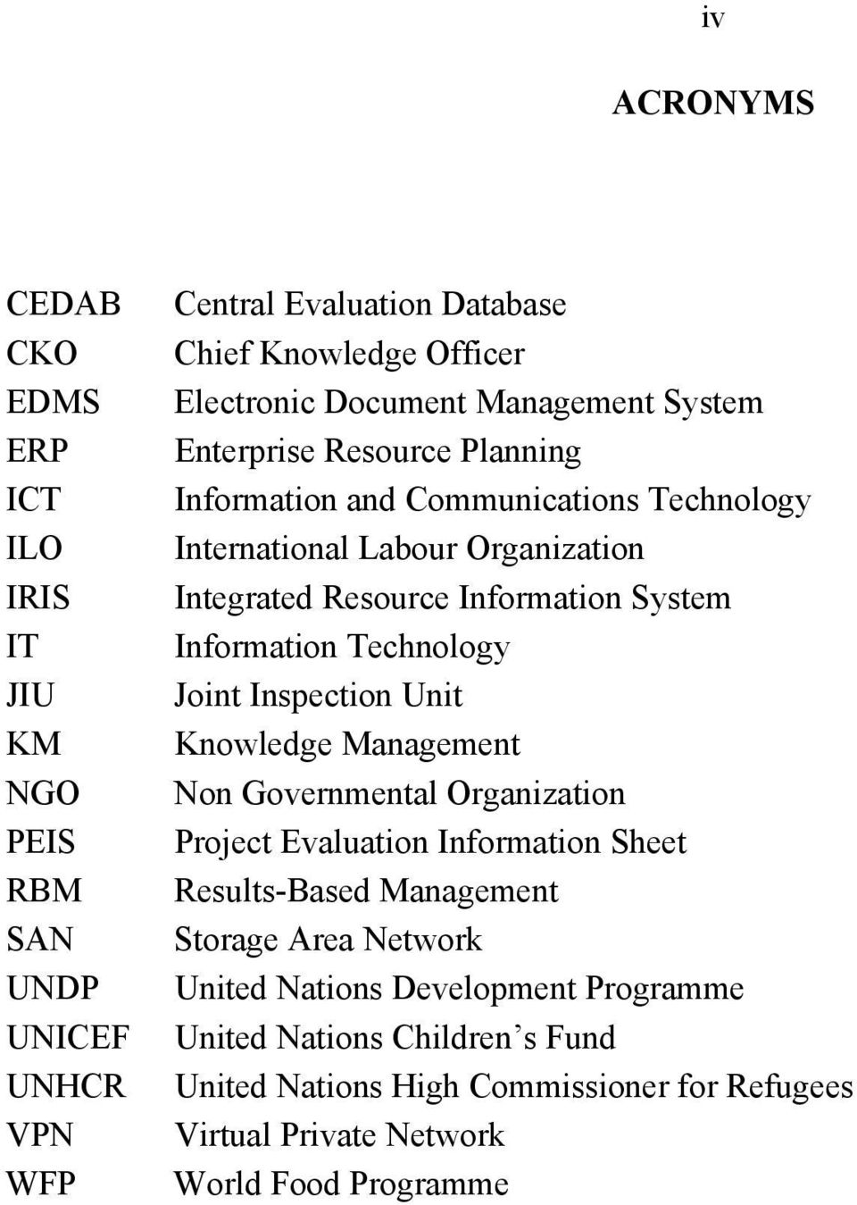 System Information Technology Joint Inspection Unit Knowledge Management Non Governmental Organization Project Evaluation Information Sheet Results-Based Management
