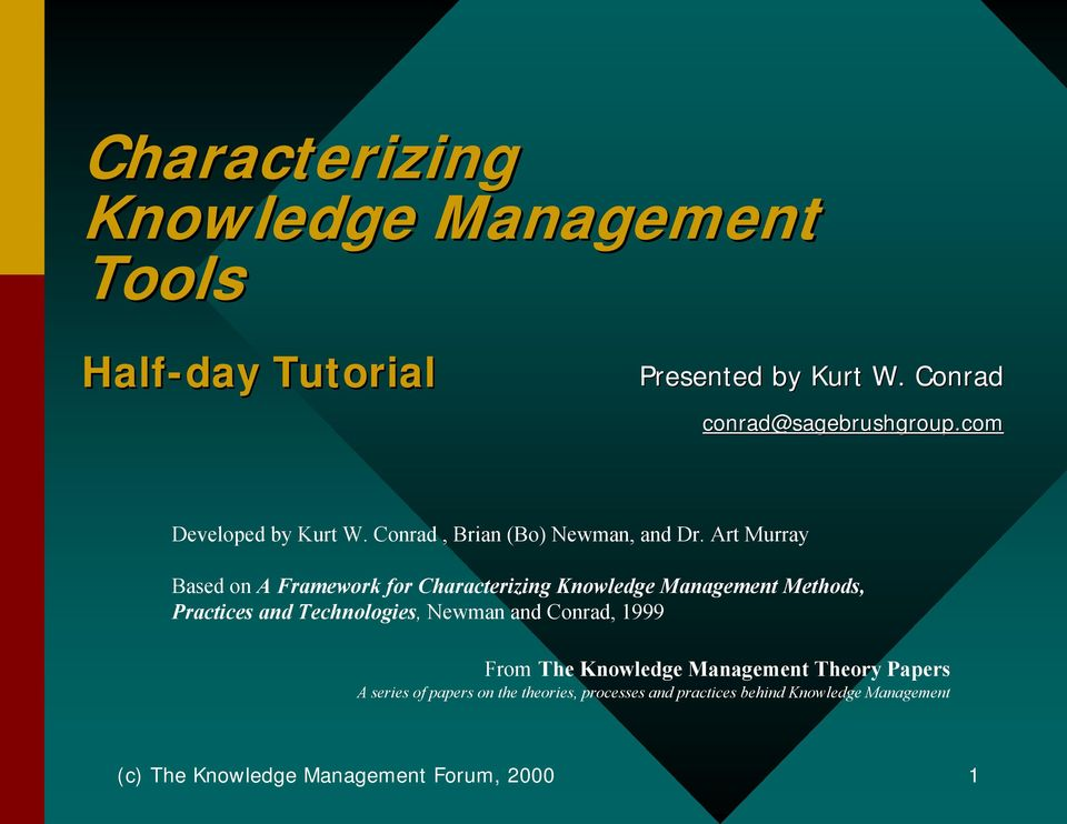 Art Murray Based on A Framework for Characterizing Knowledge Management Methods, Practices and Technologies, Newman and